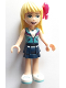 Minifig No: frnd300  Name: Friends Stephanie, Dark Blue Layered Skirt, Medium Azure and Dark Purple Jacket, Bow