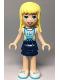 Minifig No: frnd301  Name: Friends Stephanie, Dark Blue Layered Skirt, Medium Azure Jersey with White Number '05'