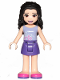 Minifig No: frnd303  Name: Friends Emma, Dark Purple Skirt, Lavender Top with Flowers