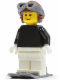 Minifig No: fst014  Name: FIRST LEGO League (FLL) Climate Connections Skier Female Black Top, Reddish Brown Aviator Cap