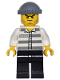 Minifig No: game009  Name: Police - Jail Prisoner 50380 Prison Stripes, Black Legs, Dark Bluish Gray Knit Cap, Beard Stubble and Scowl