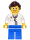 Minifig No: game012  Name: Doctor - Lab Coat Stethoscope and Thermometer, Blue Legs, Dark Brown Ponytail and Swept Sideways Fringe, Glasses and Smile