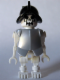 Minifig No: gen021  Name: Skeleton, Fantasy Era Torso with Evil Skull, Black Conquistador Helmet, Pearl Light Gray Armor