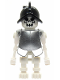 Minifig No: gen021a  Name: Skeleton, Fantasy Era Torso with Evil Skull, Black Conquistador Helmet, Metallic Silver Armor