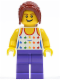 Minifig No: gen060  Name: Shirt with Female Rainbow Stars Pattern, Dark Purple Legs, Dark Red Hair Ponytail Long with Side Bangs