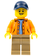 Minifig No: gen079  Name: Orange Jacket with Hood over Light Blue Sweater, Dark Tan Legs, Dark Blue Cap with Hole