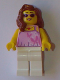 Minifig No: gen082  Name: Woman - Bright Pink Top with Butterflies and Flowers, White Legs