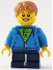 Minifig No: gen112  Name: Boy, Dark Azure Hoodie with Green Striped Shirt, Dark Blue Short Legs, Freckles, Medium Dark Flesh Hair