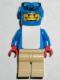 Minifig No: gg006  Name: Snowboarder, Blue Shirt, Tan Legs, White Vest