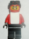 Minifig No: gg008  Name: Snowboarder, Red Shirt, Black Legs, White Vest