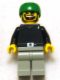 Minifig No: gg010  Name: Skateboarder, Black Shirt, Light Gray Legs, without Back Stud