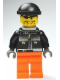Minifig No: gg019a  Name: Skateboarder, Black Jacket, Medium Orange Legs - with Neck Bracket