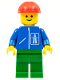 Minifig No: hgh008  Name: Highway Pattern - Green Legs, Red Construction Helmet