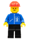 Minifig No: hgh010  Name: Highway Pattern - Black Legs, Red Construction Helmet