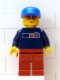 Minifig No: hky009  Name: Street Hockey Player, Dark Blue Torso, Dark Orange Legs