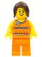 Minifig No: hol015  Name: Orange Halter Top with Medium Blue Trim and Flowers Pattern, Orange Legs, Dark Brown Hair Ponytail Long with Side Bangs