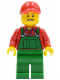 Minifig No: hol028  Name: Overalls Farmer Green, Red Cap with Hole, Open Grin