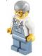 Minifig No: hol032  Name: Overalls Sand Blue, Sand Blue Legs, Light Bluish Gray Male Hair, White Beard