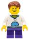 Minifig No: hol035  Name: White Hoodie with Blue Pockets, Dark Purple Short Legs, Reddish Brown Hair