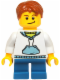 Minifig No: hol037  Name: White Hoodie with Blue Pockets, Blue Short Legs, Dark Orange Hair, Crooked Smile with Black Dimple