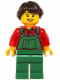 Minifig No: hol038  Name: Overalls Farmer Green, Dark Brown French Braided Female Hair