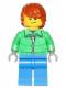 Minifig No: hol051  Name: Winter Jacket Zipper, Blue Legs, Dark Orange Hair, Crooked Smile