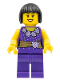 Minifig No: hol053  Name: Female Dark Purple Blouse with Gold Sash and Flowers, Dark Purple Legs, Dark Brown Bob Cut Hair