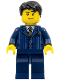 Minifig No: hol054  Name: Businessman Pinstripe Jacket and Gold Tie, Dark Blue Legs, Black Short Tousled Hair, Lopsided Smile, Stubble Beard