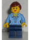 Minifig No: hol055  Name: Medium Blue Female Shirt with Two Buttons and Shell Pendant, Dark Blue Legs, Reddish Brown Ponytail and Swept Sideways Fringe