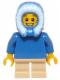 Minifig No: hol057  Name: Plain Blue Torso, Tan Short Legs, Blue Hood Fur-lined