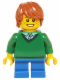 Minifig No: hol058  Name: Green V-Neck Sweater, Blue Short Legs, Dark Orange Tousled Hair