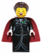 Minifig No: hol063  Name: Caroler, Female - Gold Buttons and Holly Lapel Pin