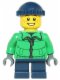 Minifig No: hol065  Name: Winter Jacket Zipper, Dark Blue Legs, Dark Blue Knit Cap, Freckles