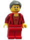Minifig No: hol072  Name: Female Corset with Gold Panel Front and Lace Up Back Pattern, Red Legs, Dark Bluish Gray Hair with Top Knot Bun (Thanksgiving Mom)