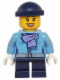Minifig No: hol074  Name: Medium Blue Jacket with Light Purple Scarf, Dark Blue Short Legs, Dark Blue Knit Cap