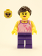 Minifig No: hol083  Name: Girl, Bright Pink Top with Butterflies and Flowers, Dark Purple Legs, Dark Brown Ponytail and Swept Sideways Fringe