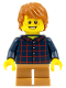 Minifig No: hol088  Name: Plaid Button Shirt, Medium Dark Flesh Short Legs, Dark Orange Hair Tousled