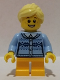Minifig No: hol103  Name: Girl - Fair Isle Sweater, Bright Light Yellow Ponytail, Bright Light Orange Legs Short, Freckles