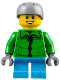 Minifig No: hol105  Name: Winter Jacket Zipper, Dark Azure Short Legs, Light Bluish Gray Sports Helmet (60155)
