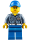 Minifig No: hol107  Name: Coast Guard City ATV Driver Female, Blue Legs, Blue Cap with Hole (60155)