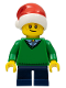 Minifig No: hol112  Name: Boy, Green V-Neck Sweater, Dark Blue Short Legs, Santa Hat