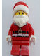 Minifig No: hol125  Name: Santa, Red Legs, Fur Lined Jacket with Button, Gray Bushy Eyebrows