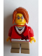 Minifig No: hol127  Name: Sweater Cropped with Bow, Heart Necklace, Dark Tan Short Legs, Dark Orange Ponytail Long with Side Bangs, Freckles and Glasses