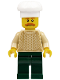 Minifig No: hol129  Name: Chef - Tan Knit Sweater, Dark Green Legs, Bushy Mustache