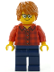 Minifig No: hol131  Name: Plaid Flannel Shirt with Collar and 5 Buttons, Dark Blue Legs, Dark Orange Hair, Glasses
