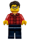 Minifig No: hol131a  Name: Plaid Flannel Shirt with Collar and 5 Buttons, Dark Blue Legs, Dark Brown Hair, Glasses (Alternate)