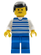 Minifig No: hor004  Name: Horizontal Lines Blue - White Arms - Blue Legs, Black Male Hair, White Arms