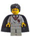 Minifig No: hp005  Name: Harry Potter, Gryffindor Shield Torso, Light Gray Legs, Black Cape with Stars