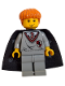 Minifig No: hp007  Name: Ron Weasley, Gryffindor Shield Torso, Black Cape with Stars