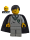 Minifig No: hp026  Name: Harry/Goyle, Slytherin Torso, Light Gray Legs, Black Cape with Stars